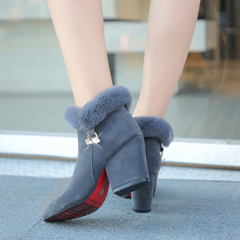 Fashion Boots Women Fur Warm Pointed Ankle Boots Sexy Rhinestone Decoration Zipper Women Boots Comfortable Female Shoes