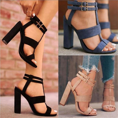Hollow Buckle Fashion Women Peep Toe High Heels Shoes