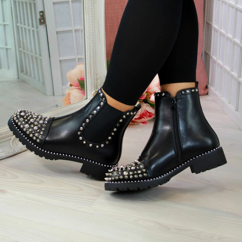 Punk Rivet Martin Boots Women Round Head Toe Leather Booties Studded Thick Low Heels Ankle Plush
