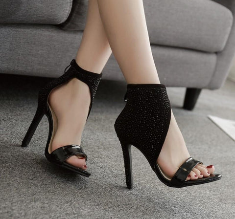 Rhinestone Zipper Fashion Women Peep Toe Stiletto High Heels Shoes