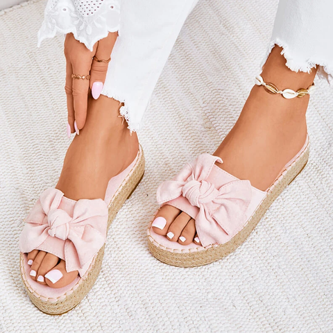 Platform Sandals Bow Casual Daily Comfy Slip On Platform Sandals Dress Peep Toe Female Gladiator Sandalias
