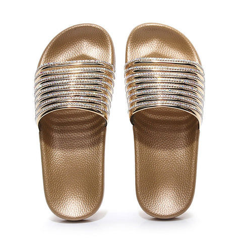 Slippers Women's Shoes Non-slip Beach Non Ladies Slides Rhinestone Rainbow Color Outdoor Female New