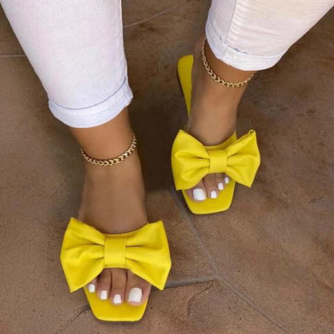 Women Slippers Solid Butterfly Knot Flat Heel Outdoor Slides Fashion Casual Beach Female Ladies Shoes