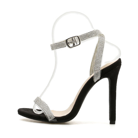 Gladiator Sandals Women Wedding Sequins Sandals Party Sexy Silver Crystal Chain Shoes Thin Heels Sandalia Feminina