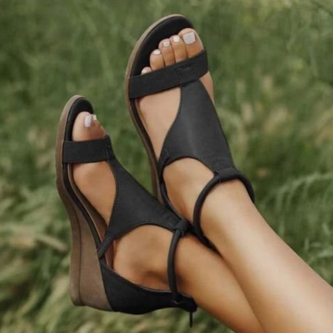 Women Sandals Fashion Wedges Shoes Woman Vintage Zipper Pu Leather Sandals Outdoor Open Toe Beach Sandals Woman