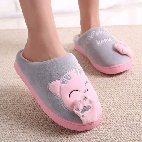 Warm Home Slippers Couple Shoes Plush Cat Animal Slip On Soft Indoor Flats Comfort
