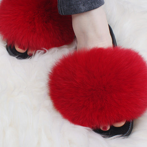 Newest Slippers Real Fur Slides Indoor Flip Flops Casual High Quality Sandals Fluffy Plush Shoes