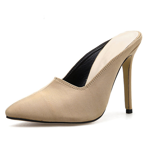 Fashion Faux Suede Slingback Mules Pointed Toe Med Heels Women Pumps High Thin Heels Party Sexy Shoes