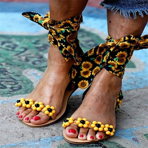 Sandals Women Flat Sandals Ankle Strap Handmade Beaded Special Women's Shoes Beach Sandals