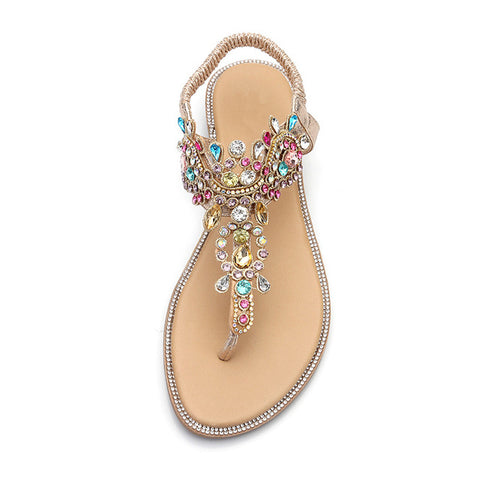 Woman Sandals Women Shoes Rhinestones Chains Thong Gladiator Flat Sandals Crystal