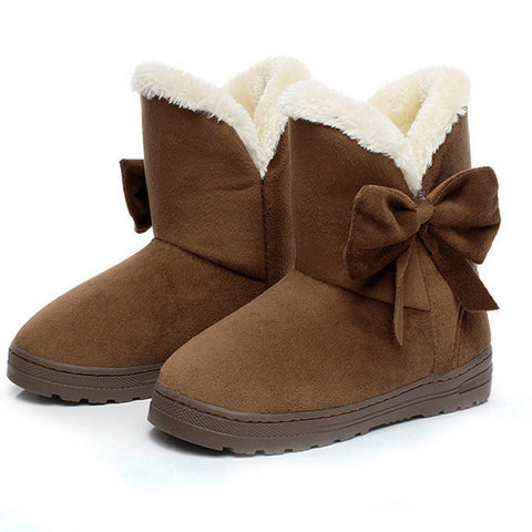 Snow Boots Shoes Warm Casual Fur Ankle Bowtie Non Slip Plush Suede Rubber Flat Slip On Fashion