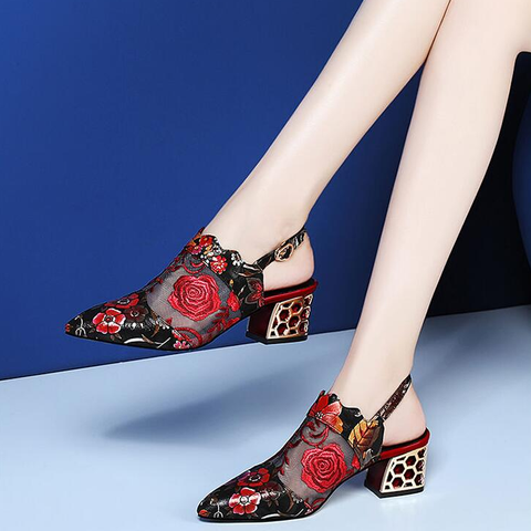High Heels Sandals Woman Mesh Shoes Women Pumps Pointed Toe Ankle Buckle Strap Ethnic Embroidery Flower Handmade