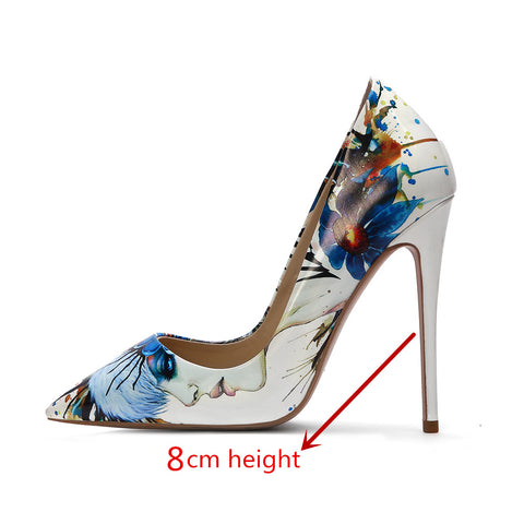 Fashion Sexy Women's White Doodling High Heels Shoes Wedding Shoes Pumps Party Pointed Toe Stripe Pumps Stiletto