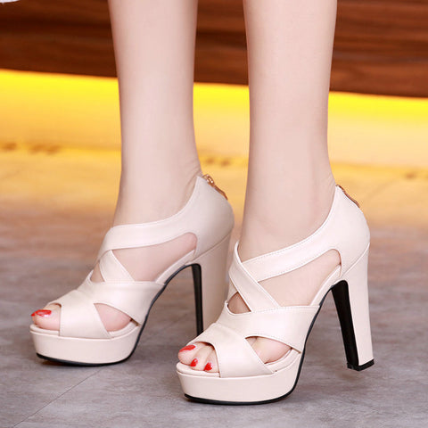 Women Shoes Sexy Peep Toe Gladiator Square High Heels Woman Pumps Zip Wedding Party