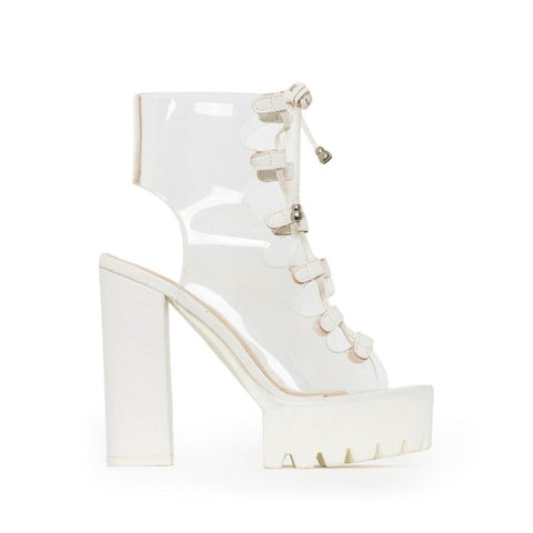 Jelly Sandals Open Toe Lace-up Gladiator High Heels Shoes Platform Heel Transparent Sandals