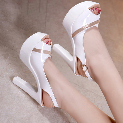 Women Sandals Patent Leather  Super High Heel Fish Mouth Toe Sexy Party Wedding Shoes