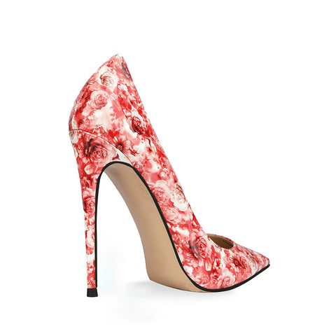Fashion Banquet High Heels Patent Leather Printed Shallow Mouth Floral Stiletto Heels Women