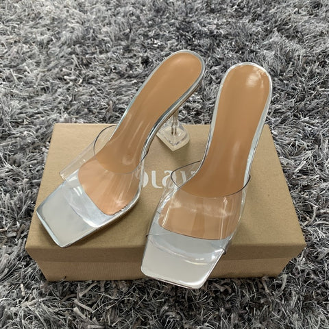 Fashion Sandals Pvc Crystal Open Toed High Heels Women Transparent Heel Sandals Slippers