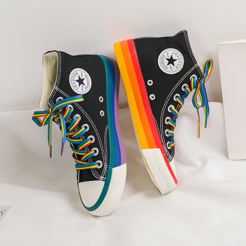 Rainbow Bottom Casual Shoes Woman High Top Sneakers Female Casual Shoes White Canvas Sneakers