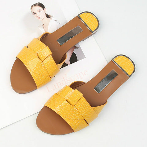 Flat Women Shoes For Candy Color Pu Leather Fashion Female Sandals Open Toe Wear Casual Ladies Flip Flops