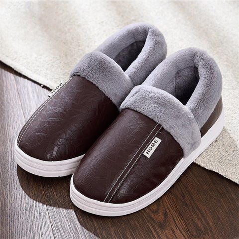 Shoes Slippers Home Warm Waterproof Fur Shoes Fashion Cotton Slip On Leather Slides Casual Loafers