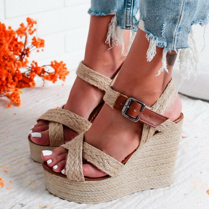 High Wedges Heel Sandals Fashion Open Toe Platform Elevator Women Sandals Shoes Pumps