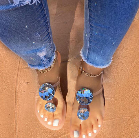 Toe Ring Flat Sandals Women Hot Fashion Open Toe Flip Flops Slides Slip On Beach Shoes
