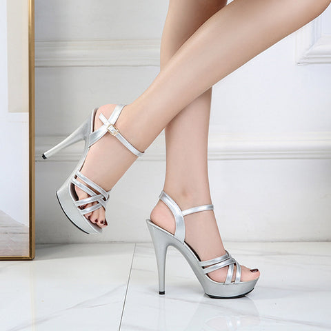 Womens Shoes Belt Buckle Sandals Women New Fashion Sexy High Heels Model Catwalk Sandals