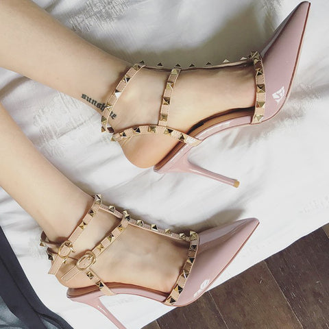 Women's Shoes Sandals Female High Heeled Shoes Female Pointed Stiletto Sexy Nightclub Word With Rivets