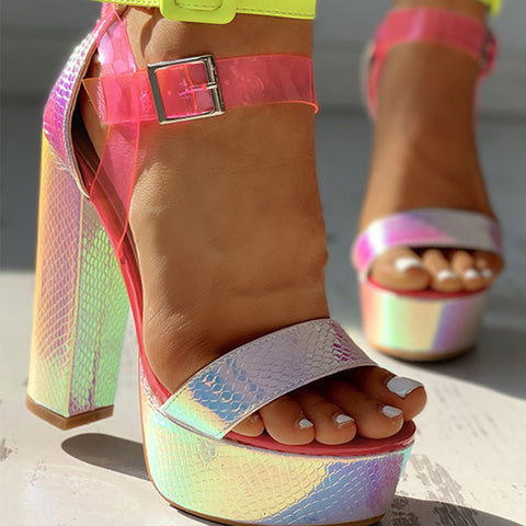 New Top Quality Sexy High Heels Party Sandals Women Bright Fashion Platform Sandals Female Laser Radium Print