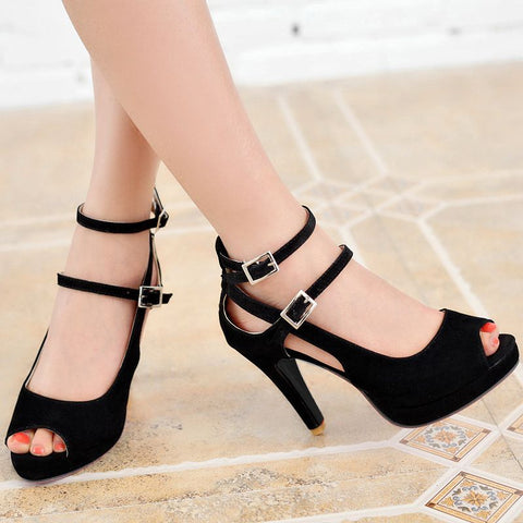 Women Sandals Buckle Peep Toe Buckle Peep Toe Shoes High Heels Ladies Wedding Shoes