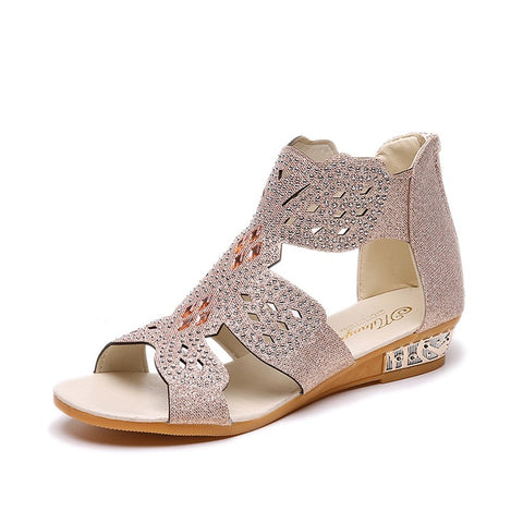 Gladiator Woman Sandals Women's Crystal Shoes Women Wedges Female Fashion Zip Footwear