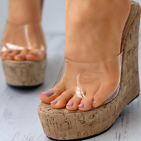 Sexy Super High Heels Platform Wedges Sandal Mules Slippers Shoes Women