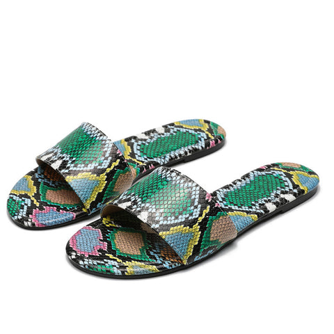 Sexy Personalized Women Sandals New Sexy Snake Pattern Slip On Casual Beach Shoes Woman Comfort Ladies Beach Flip Flops