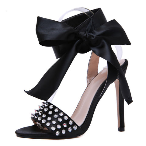 Women Heeled Sandals Butterfly Knot Cross Strap Pumps Super High Heels Peep Toe Buckle Strap Lady Shoes