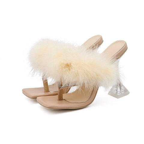 Woman Slippers Feather Transparent Perspex Crystal High Heels Rhinestone Flip Flops Mules Ladies Slides Shoes New