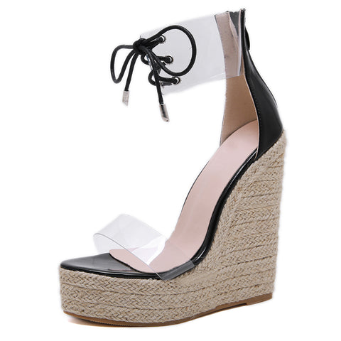 Fashion Sandal Women Transparent Sandals Lace-up Wedges High Heels Party Daily Pumps Shoes