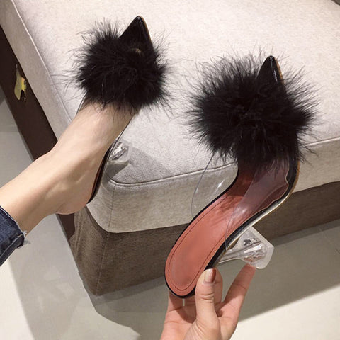 Woman Pumps Transparent Feather Perspex Crystal High Heels Fur Peep Toe Mules Slippers Ladies Slides Shoes