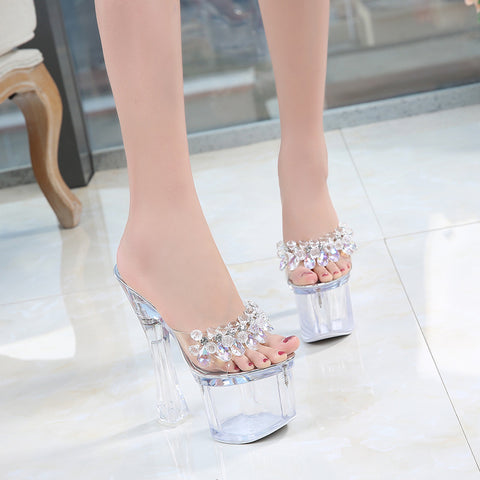 Transparent Platform Sandals Ladies Open Toe High Shoes Wedding Shoes Women Sandals Clear Glass Bead Pvc High Heel