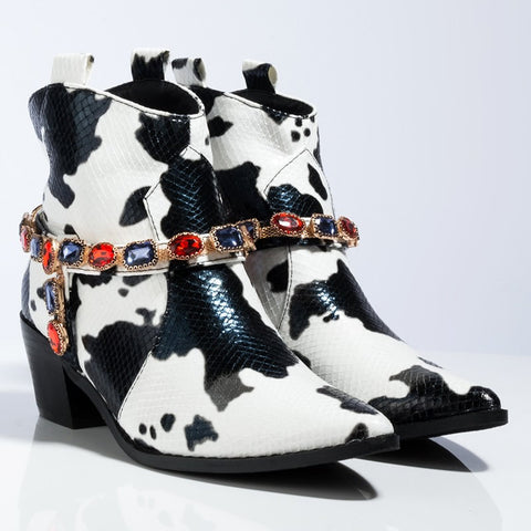 Mixed Colors Cowboy Ankle Boots Women Crystals Buckle Wedge High Heel Bootie Pointed Toe Short Boots