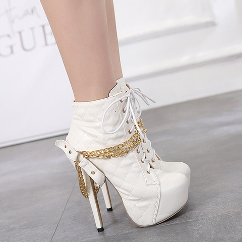 Fashion Women Boots Super High Platform Riding, Equestrian Booties Chain Rivet Ladies Pumps Shoes