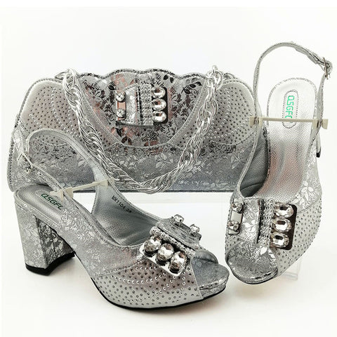 New Design Shoes With Matching Bags Fashion Pattern Style Women High Heel For Wedding And Party