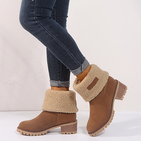 Women's Shoes Snow Boots Ladies Shoes Fashion Flock Warm Boots Ankle Boots Short Bootie Slip-on Outside Shoes