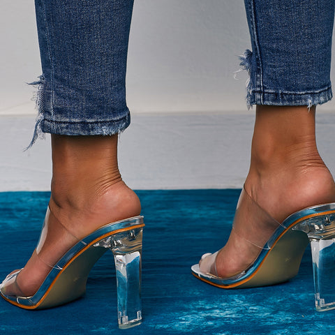 Transparent Slippers Open Toes Sexy Serpentine High Heel Crystal Women's Shoes Transparent High Heels Slippers