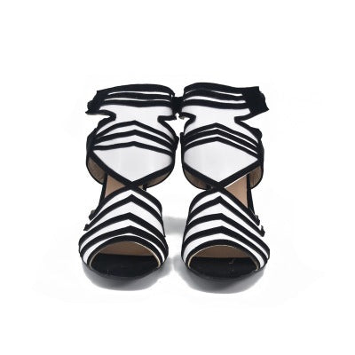 Women European Thin Heels Sexy Party High Heels Sandals Shoes Ladies Zebra Ankle Strap Peep Toe Sandals Shoes