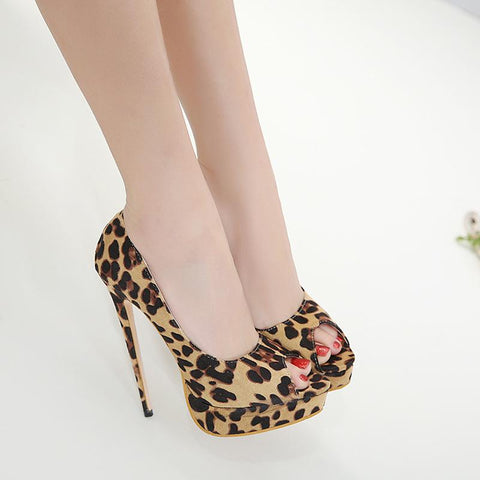 Leopard Print Fashion Women Peep Toe Platform High Heels Shoes