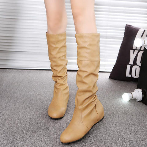 Solid Color Ruffle Leather Women High Boots Shoes