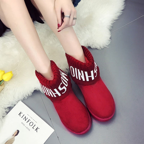Classic Woman Boots Suede Ankle Snow Boots Female Keep Warm Fur Plush Insole