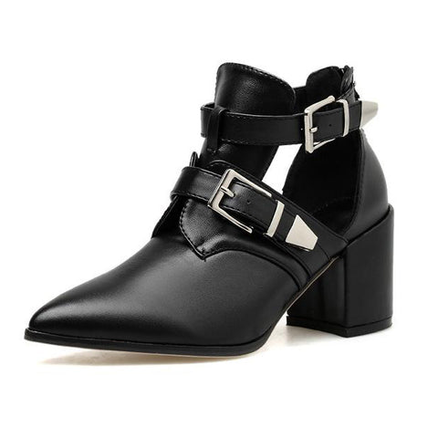 New Boots Cut Outs Ankle Boots Women Pointed Toe Square Med Heels Shoes Woman Buckle Boots Sandals