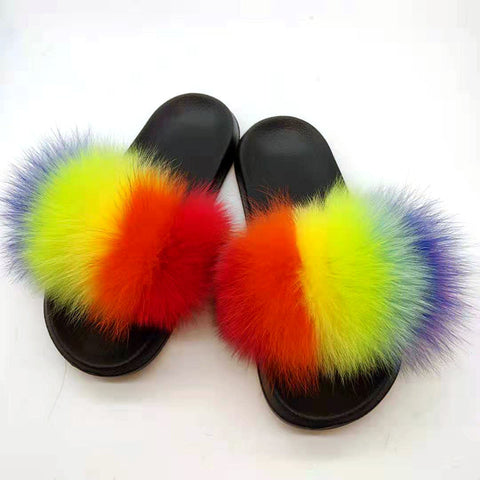 Fluffy Raccoon Fur Slippers Shoes Women Real Fox Flat Fur Slides Outdoor Sandals Woman Amazing Shoes